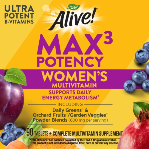 Nature's Way Alive! Women's Max 3 Daily Energizer Muli-Vitamin Supplement Tablets Perspective: bottom