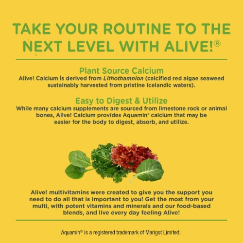 Nature's Way Alive! Calcium Bone Formula Max Absorption Tablets Perspective: bottom