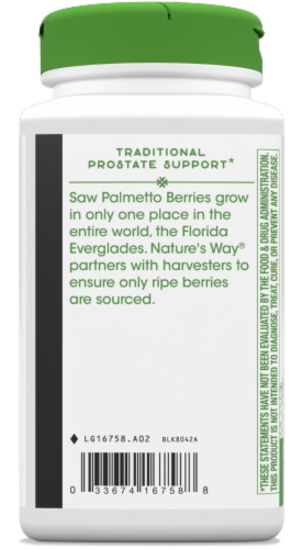 Nature's Way Saw Palmetto Berries 585mg Capsules Perspective: bottom