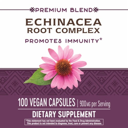 Natures Way Echinacea Root Complex Dietary Supplement Vegan Capsules 900mg Perspective: bottom