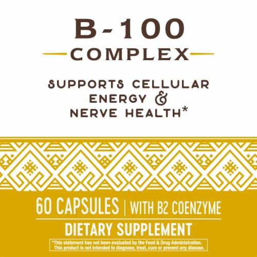 Nature's Way B-100 Complex Dietary Supplement Capsules Perspective: bottom