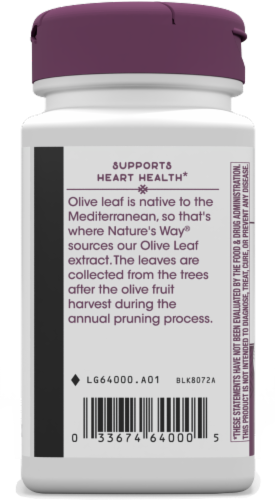 Nature's Way Olive Leaf Standardized Vegan Capsules 250mg Perspective: bottom