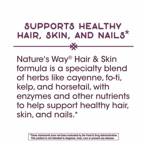 Nature's Way Hair & Skin Supplement Capsules Perspective: bottom