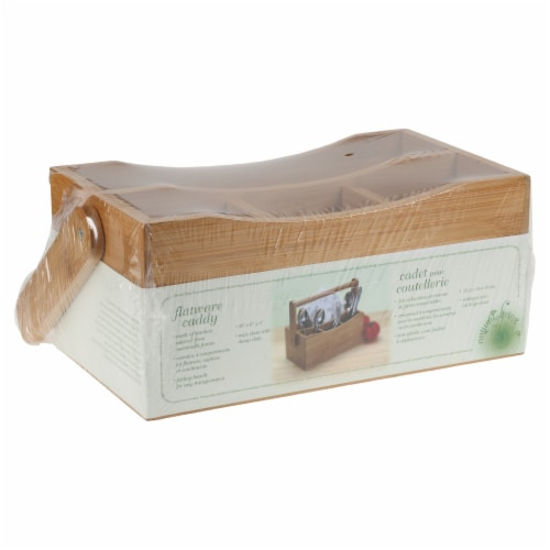 Natural Living Bamboo 4-section Flatware Caddy with Handle Perspective: bottom