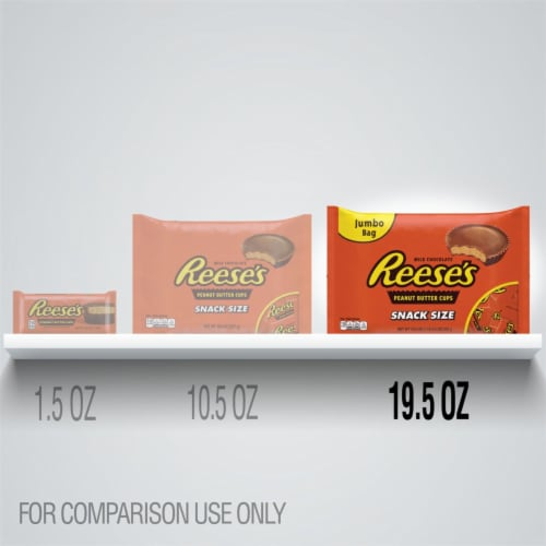 Reese's Snack Size Milk Chocolate & Peanut Butter Cups Candy Perspective: bottom