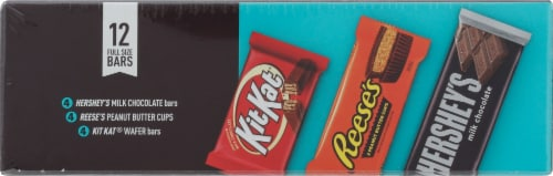 Hershey's Milk Chocolate Reese's Peanut Butter Cups and Kit Kat Wafer Bars Candy Assortment Perspective: bottom