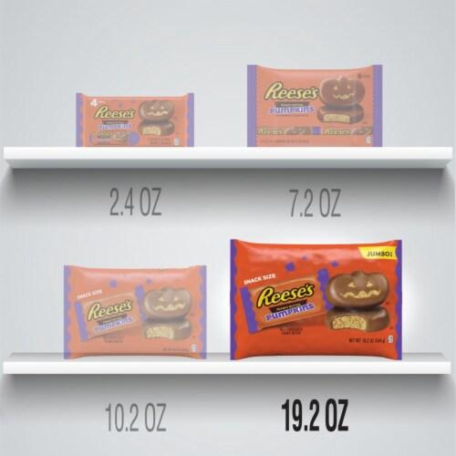 Reese's Halloween Milk Chocolate Peanut Butter Pumpkin Snack Size Candy Perspective: bottom