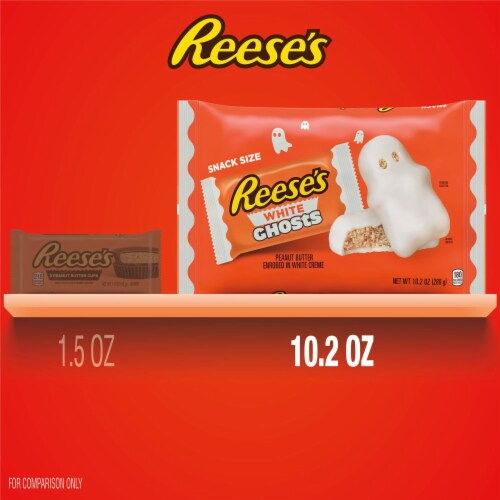 Reese's Halloween White Creme Peanut Butter Cup Ghost Snack Size Candy Perspective: bottom