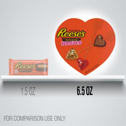 REESE'S Valentine's Milk Chocolate Peanut Butter Hearts Candy Heart Box Perspective: bottom