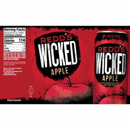Redd's Wicked Apple Golden Ale Beer 12 Cans Perspective: bottom