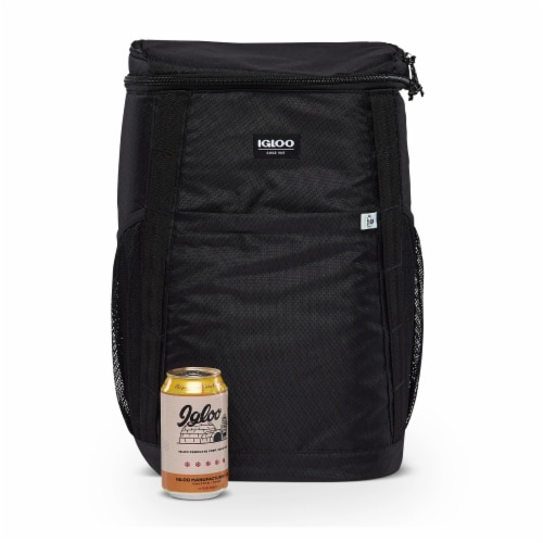 Igloo REPREVE Portable Outdoor Insulated Soft Side Backpack Cooler Bag, Black Perspective: bottom