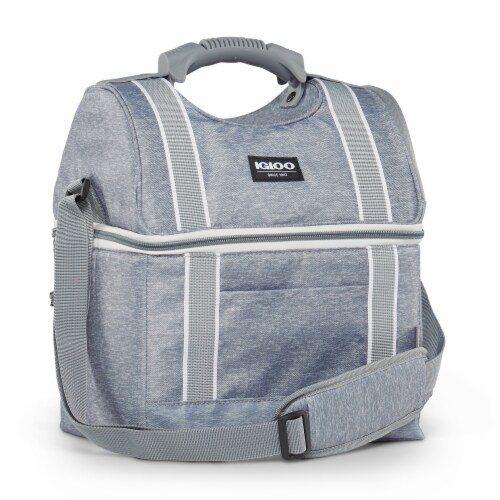 Igloo 22 Can Playmate Gripper Large Portable Lunchbox Soft Cooler Bag, Gray Perspective: bottom