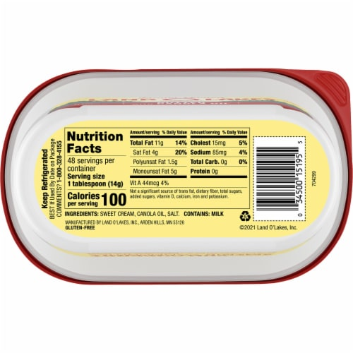 Land O' Lakes Butter with Canola Oil Perspective: bottom