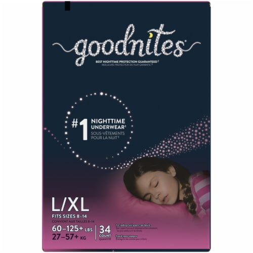 GoodNites L-XL Bedtime Underwear for Girls 34 Count Perspective: bottom