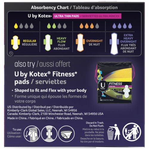 U by Kotex AllNighter Ultra Thin Extra Heavy Flow Unscented Overnight Pads with Wings Perspective: bottom