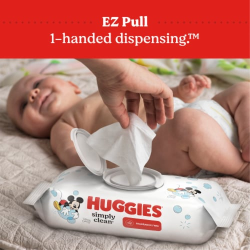 Huggies Simply Clean Unscented Baby Wipes 1 Flip-Top Pack 64 Wipes Total Perspective: bottom