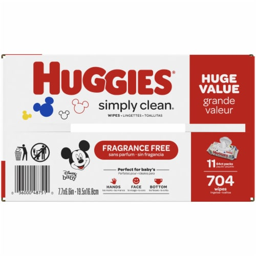 Huggies Simply Clean Unscented Baby Wipes Perspective: bottom
