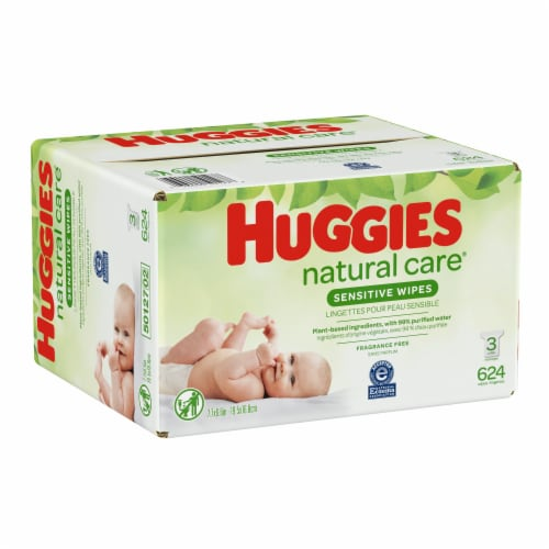 Huggies Natural Care Sensitive Baby Wipes Unscented Refill Packs Perspective: bottom
