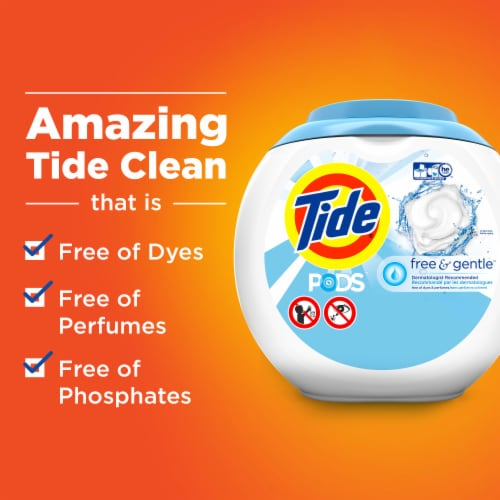 Tide PODS Free & Gentle Laundry Detergent Pacs Perspective: bottom