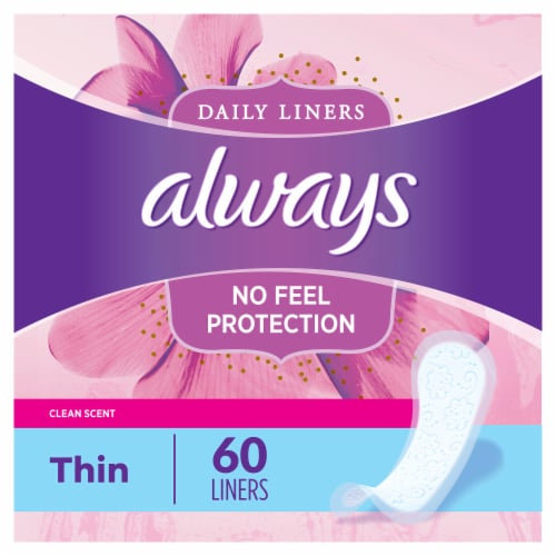 Always® Clean Scent Thin Regular Wrapped Daily Liners Perspective: bottom