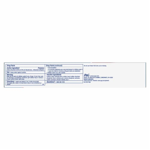 Crest Cavity Protection Regular Paste Fluoride Anticavity Toothpaste Perspective: bottom