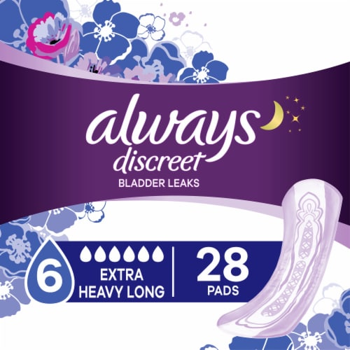 Always Discreet Incontinence Pads for Women Extra Heavy Absorbency Long Length Perspective: bottom