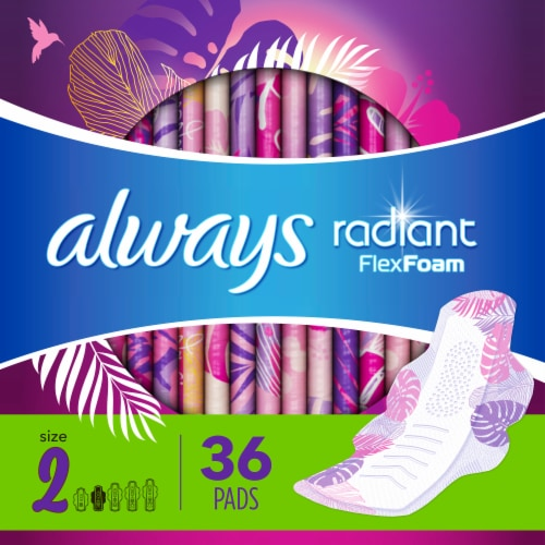 Always Radiant Size 2 Heavy Flow Scented Pads Perspective: bottom