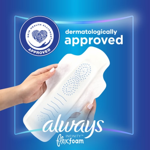 Always Infinity FlexFoam Size 4 Overnight Unscented Pads with Flex-Wings Perspective: bottom