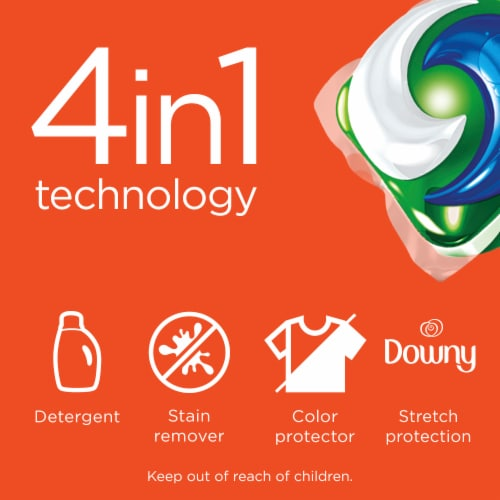 Tide Pods + 4-in-1 Downy April Fresh Detergent Pacs Perspective: bottom