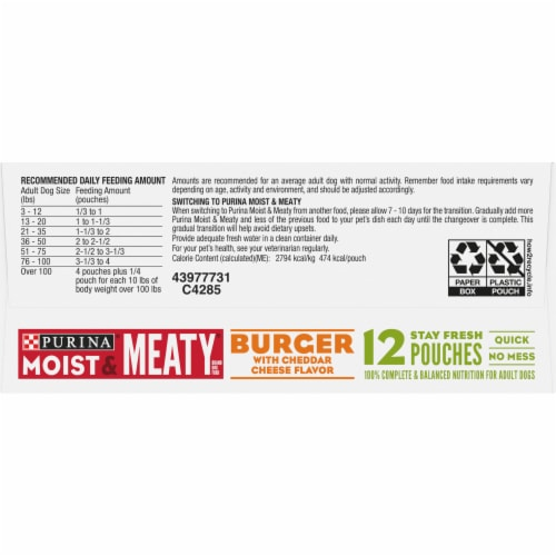 Moist & Meaty Burger with Cheddar Cheese Flavor Dry Dog Food Pouches 12 Count Perspective: bottom