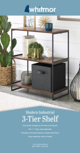 Whitmor Modern Industrial 3-Tier Shelves - Black/Brown Perspective: bottom