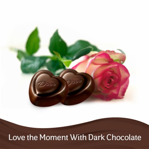 DOVE PROMISES Valentines Day Dark Chocolate Valentine Candy Hearts Bag Perspective: bottom
