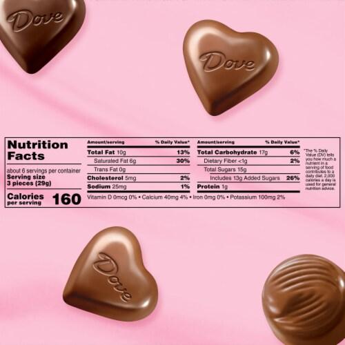 Dove Creamy Caramels Milk Chocolate Heart Truffles & Dark Chocolate Heart Truffles Heart Tin Perspective: bottom