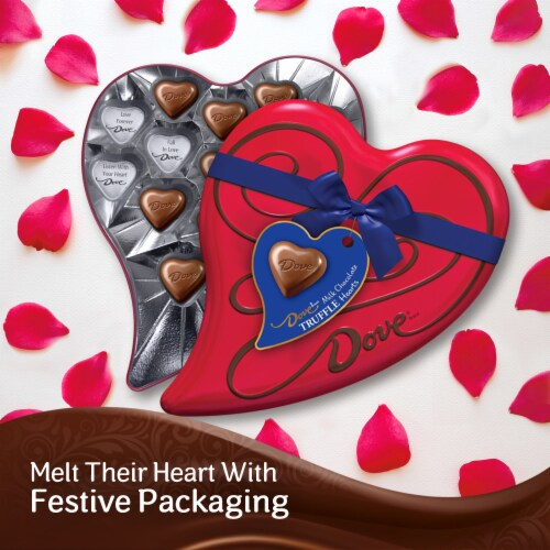 Dove Milk Chocolate Truffle Hearts Tin Perspective: bottom