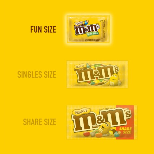 M&M's® Fun Size Peanut Chocolate Candy Bag Perspective: bottom