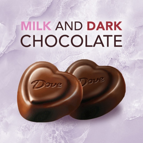 DOVE PROMISES Milk Chocolate & Dark Chocolate Assorted Valentine Candy Hearts Perspective: bottom