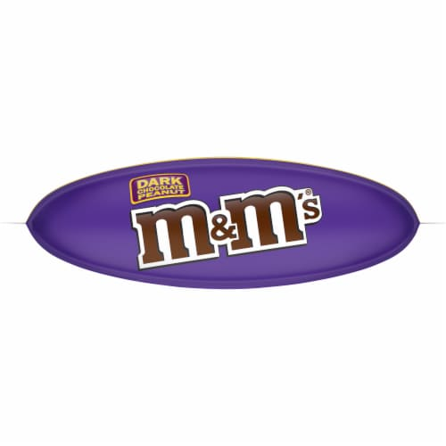 M&M's Dark Chocolate Peanut Candies Sharing Size Bag Perspective: bottom