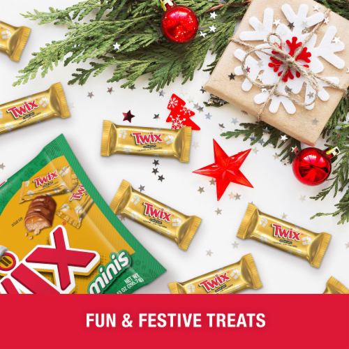 Twix Holiday Minis Caramel Milk Chocolate Cookie Bar Christmas Candy Perspective: bottom