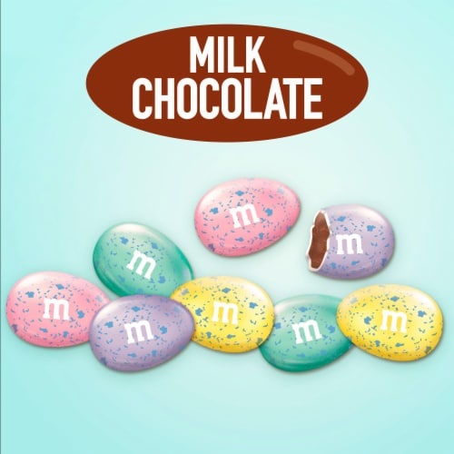 M&M'S Milk Chocolate Candy Speckled Eggs Easter Candy Bag Perspective: bottom