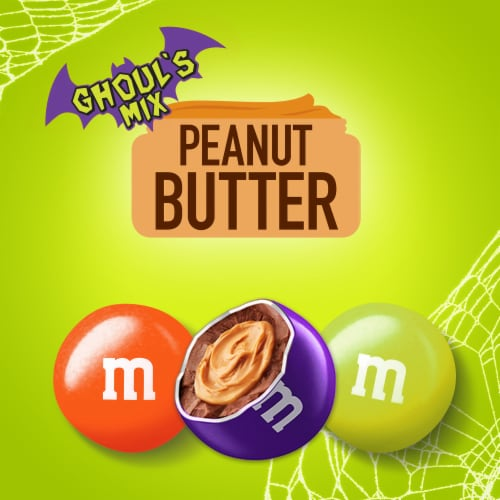 M&M's® Ghoul's Mix Peanut Butter Chocolate Halloween Candy Perspective: bottom