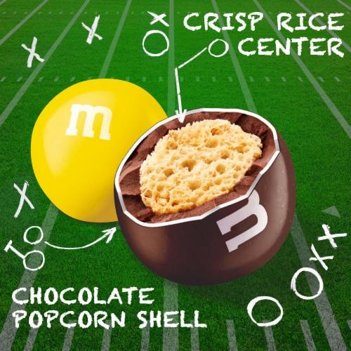 M&M's Milk Chocolate Popcorn Crisp Rice Center Halloween Candy Perspective: bottom
