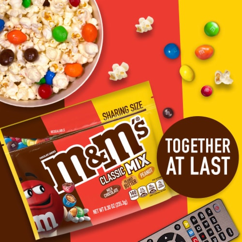 M&M's Classic Mix Chocolate Candy Sharing Size Bag Perspective: bottom