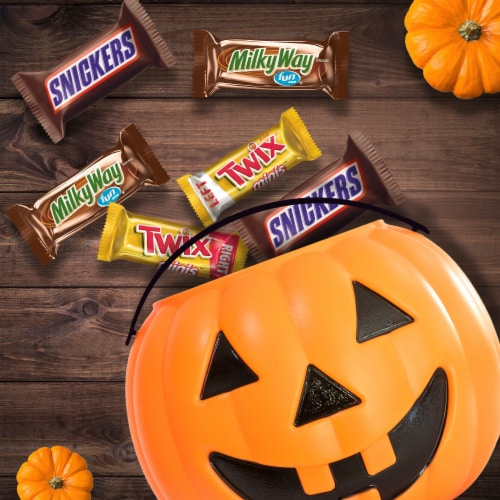 Mars Assorted Fun Sized & Mini Sized Chocolate Halloween Candy Variety Bag Perspective: bottom