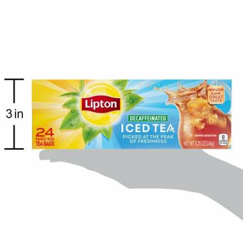 Lipton Unsweetened Decaffeinated Black Iced Tea Bags Family Size Perspective: bottom