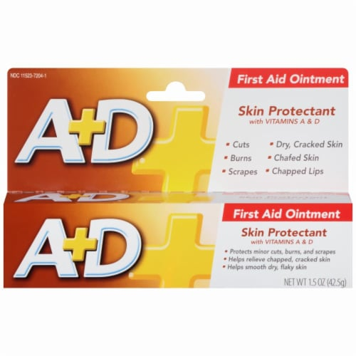 A+D First Aid Ointment Moisturizing Skin Protectant for Dry Cracked Skin/Hands 1.5 oz Perspective: bottom