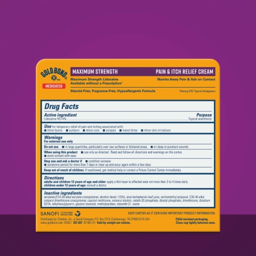 Gold Bond® Multi-Symptom Itch Relief With 4% Lidocaine Maximum Strenth Perspective: bottom