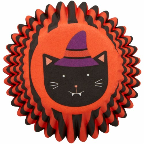 Holiday Home Halloween Cat Mini Baking Cups Perspective: bottom