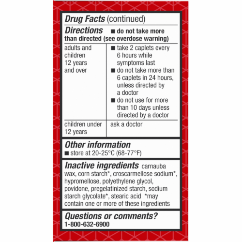 Kroger® Extra Strength Acetaminophen Pain Reliever & Fever Reducer Caplets 500mg Perspective: bottom