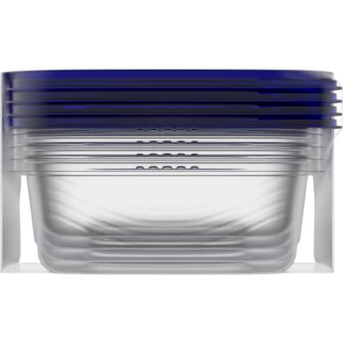 Kroger® Small Rectangle Food Storage Containers - Clear/Blue Perspective: bottom