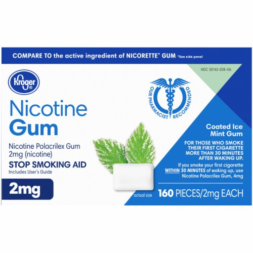 Kroger® Coated Ice Mint Nicotine Gum 2mg Perspective: bottom